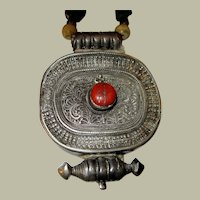 Antique Tibetan Silver Gau Necklace
