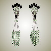 Unusual Peridot-Colored and Black Rhinestone Clip-On Dangle Earrings