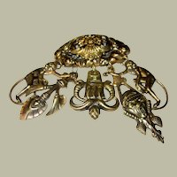 1920's Egyptian Revival Brooch with Dangling Charms