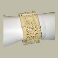 Chinese Carved Bone Bracelet on Expandable Cord
