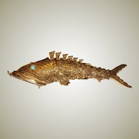 Chinese Vermeil  Articulated Fish Pendant/Pomander Holder
