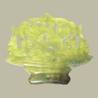 Chinese Carved Apple Jade, Flowers in Basket, Pendant