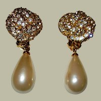 Exquisite Pair of Rhinestone & Faux Pearl Dangle Earrings