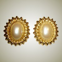 Large & Elegant Faux Pearl Clip-On Earrings by Blanca