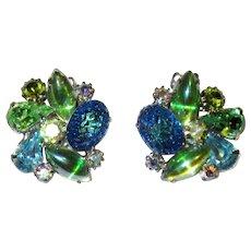 Kramer-Blue & Green Rhinestone & Molded Glass Clip-On Earrings