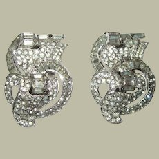 Art Deco Dress Clips with Clear Rhinestones