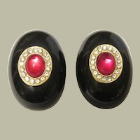 1980's Black Bakelite-Like/Resin Clip-On Earrings-Italy