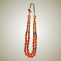 Vibrant Orange, Austrian Cut Crystal Double-Strand Necklace