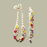 Unusual Pate de Verre (Poured Glass) Necklace & Bracelet Set