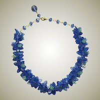 Cobalt Blue & Turquoise Glass Beaded Necklace