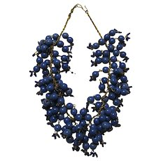 Multi-Beaded Glass Bib Necklace on Gold-Toned Chain
