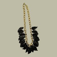 , Pate de Verre, Midnight Navy Glass Leaf Necklace