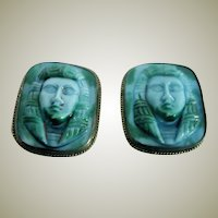 Egyptian Revival-Turquoise and Green Mottled, Glass Earrings