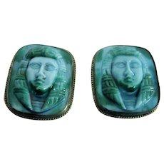 Egyptian Revival-Turquoise and Green Mottled, Glass Earrings