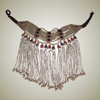 Afghani Large Bib Necklace in Silver-Tone (unmarked) with Enamel Work