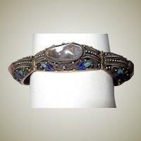 Chinese Amethyst/Quartz Bracelet with Enamel Work
