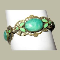 1920's Czech Bracelet with Green Mottled Glass Cabochon Stones and Enamel Work