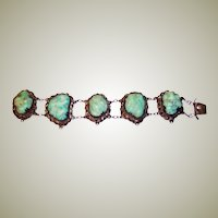 Chinese Turquoise Nugget Bracelet on Silver-Toned Metal
