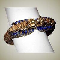 Chinese Vermeil Double-Headed Dragon Bracelet with Enamel Work and Amethyst/Quartz Eyes