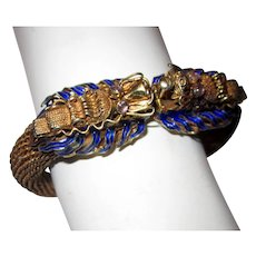 Chinese Vermeil Double-Headed Dragon Bracelet with Enamel Work and Amethyst/Quartz Eyes