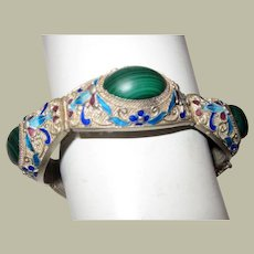 Chinese Silver Bracelet with Malachite Cabochon Stones and Enamel Work