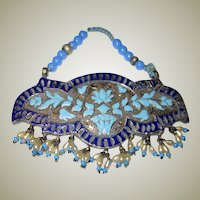 Indian Pendant with Enamel Work and Seed Pearls