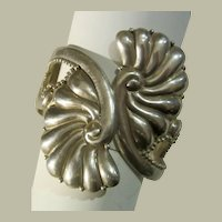 Dramatic Mexican Sterling Clamper Bracelet by J. Gomez
