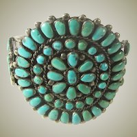 Gorgeous Natural Turquoise Navajo Cluster Bracelet