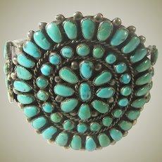 Gorgeous Natural Turquoise Navajo Cluster Bracelet