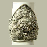 Ethnic Silver, Middle Eastern, Cuff Bracelet with Hallmarks