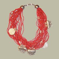 25 Strand, Ethnic, Coral Colored Beaded Choker