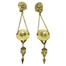 1980's Crystal and Rhinestone Dangle, Clip-On Earrings