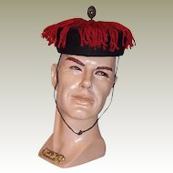 Men's Chinese Black Winter Parade/Court Hat with Red Fringe (Circa 1860)