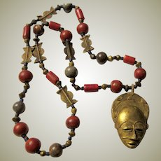 Artisan Designed, OOAK, Ethnic Stone Beaded Necklace with Face Pendant, of African Origins