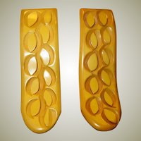 Excellent Pair of Carved Butterscotch Bakelite Dress Clips from Art Deco Period