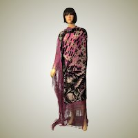 1920's Art Deco Black and White Cut-Silk Velvet Shawl on Plum Silk