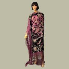 1920's Art Deco Black and White Cut-Silk Velvet Shawl on Plum Silk