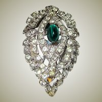 Art Deco Dress Clip with Emerald-Colored Cabochon Stone