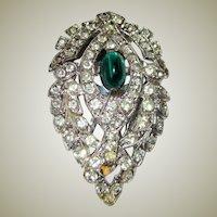 Art Deco Dress Clip with Emerald-Colored Cabochon Stone