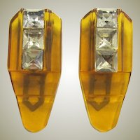 Art Deco Apple Juice Bakelite Dress Clips