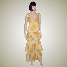 Art Deco/Gatsby-Yellow Silk Floral Printed Gown with Ruffles
