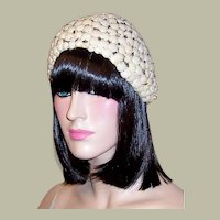 Buscha Hats-New York-Rare and Unusual 1920's White Skull Cap