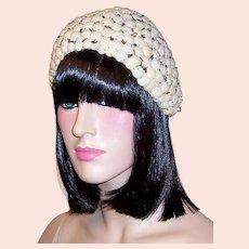Buscha Hats-New York-Rare and Unusual 1920's White Skull Cap