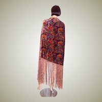 1920's Art Deco-Multi-Colored Silk Velvet Shawl with Silk Fringe