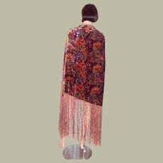 1920's Art Deco-Multi-Colored Silk Velvet Shawl with Silk Fringe