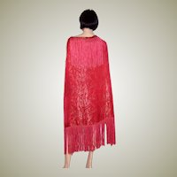 1920's Art Deco, Cerise and Gold Lame Shawl with Fringe