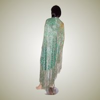 1920's Silver Lame and Cut-Silk Velvet Medium Green Shawl with Fringe