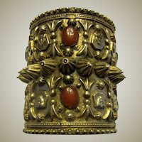 Impressive Antique Silver Ethnic Cuff Bracelet of Egyptian Origin with Carnelian and Green Onyx Stones