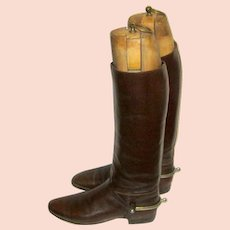 Men's Edwardian Brown Leather Equestrian Long Boots with Solid Nickel Spurs and Custom-Made Boot Trees