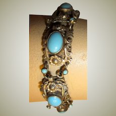 Antique Bracelet, Intricately Designed on Silver with Turquoise Glass Cabochon Stones, Hallmarked-Hungary